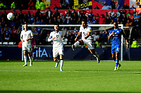 Wayne Routledge of Swansea City has a shot from the half way line during the Sky Bet Championship match between Swansea City and Cardiff City at the Liberty Stadium in Swansea, Wales, UK. Sunday 27 October 2019