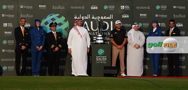 Graeme McDowell (NIR) with the winners trophy after  Round 4 of the Saudi International at the Royal Greens Golf and Country Club, King Abdullah Economic City, Saudi Arabia. 02/02/2020<br /> Picture: Golffile | Thos Caffrey<br /> <br /> <br /> All photo usage must carry mandatory copyright credit (© Golffile | Thos Caffrey)