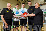 Mercy Mounthawk U19 Basketball team co captains, Darragh Kennelly and Stephen Bowler, standing with coach Jimmy Diggins, John Dowling (Manager) and Lindsey Moriarty (Coach)