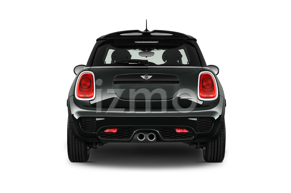 Straight rear view of2015 MINI Mini John Cooper Works 3 Door Hatchback Rear View  stock images