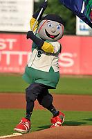 "Cedar Rapids Kernels mascot ""Mr. Shucks"" in action prior to the game against the Peoria Chiefs at Veterans Memorial Stadium on June 16, 2018 in Cedar Rapids, Iowa. The Kernels won 12-4.  (Dennis Hubbard/Four Seam Images)"