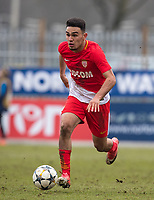 Amilcar Silva of AS Monaco FC Youth during the UEFA Youth League round of 16 match between Tottenham Hotspur U19 and Monaco at Lamex Stadium, Stevenage, England on 21 February 2018. Photo by Andy Rowland.