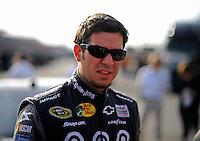 Oct. 9, 2009; Fontana, CA, USA; NASCAR Sprint Cup Series driver Martin Truex Jr during qualifying for the Pepsi 500 at Auto Club Speedway. Mandatory Credit: Mark J. Rebilas-