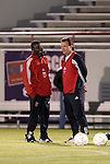 24 March 2004: Freddy Adu (left) and head coach Peter Nowak (right) have a chat before the game. DC United of Major League Soccer defeated the Wilmington Hammerheads of the Pro Select League 1-0 at the Legion Sports Complex in Wilmington, NC in a Carolina Challenge Cup match..