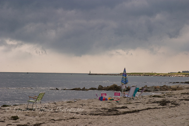 Harwichport Beach, dark clouds.<br /> Harwichport, MA