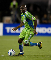 Blaise Nkufo of Sounders in action during the game against the Earthquakes at Buck Shaw Stadium in Santa Clara, California on July 31st, 2010.   Seattle Sounders defeated San Jose Earthquakes, 1-0.