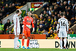 Sheffield United players look dejected after conceding the first goal during the Premier League match at Carrow Road, Norwich. Picture date: 8th December 2019. Picture credit should read: James Wilson/Sportimage