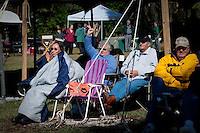 Audience braves the cold weather at the third annual Jammin' in the Hammock Bluegrass Festival at Collier-Seminole State Aprk February 13. Photo by Debi Pittman Wilkey