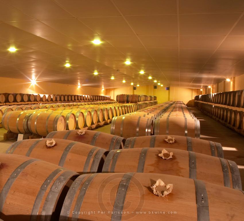 The new cellar for ageing wine in barrel, rows and rows of oak barriques Chateau de Haux Premieres Cotes de Bordeaux Entre-deux-Mers Bordeaux Gironde Aquitaine France
