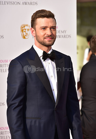 LONDON, ENGLAND - MAY 08: Justin Timberlake at he British Academy (BAFTA) Television Awards 2016, Royal Festival Hall, Belvedere Road, London, England, UK, on Sunday 08 May 2016.<br /> CAP/JOR<br /> &copy;JOR/Capital Pictures /MediaPunch ***NORTH AMERICA AND SOUTH AMERICA ONLY***