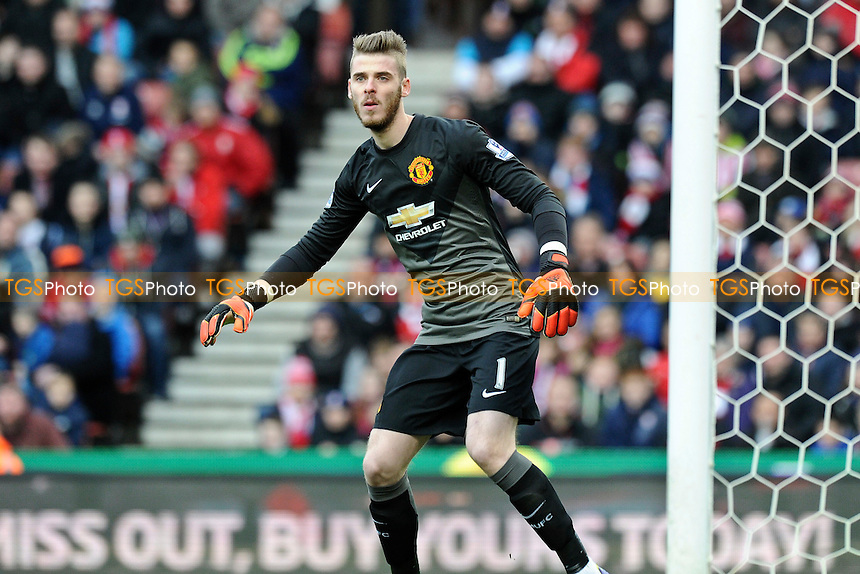 David De Gea of Manchester United - Stoke City vs Manchester United - Barclays Premier League Football at the Britannia Stadium, Stoke-on-Trent - 01/01/15 - MANDATORY CREDIT: Greig Bertram/TGSPHOTO - Self billing applies where appropriate - contact@tgsphoto.co.uk - NO UNPAID USE