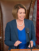 Former Speaker of the United States House of Representatives and current US House Minority Leader Nancy Pelosi (Democrat of California), makes remarks in the US House Chamber in the US Capitol in Washington, DC on Thursday, October 29, 2015.<br /> Credit: Ron Sachs / CNP