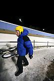 USA, Utah, Park City, Henry Druce walks to the luge start, Utah Olympic Park
