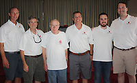 NWA Democrat-Gazette/CARIN SCHOPPMEYER Alan Lane (from left), Conrad Odom, Bobby Odom, Mark Lindsay, Thomas Odom and Bryant Crooks annual Odom Seafood Jubilee on July 28 at the Elks Lodge in Fayetteville.