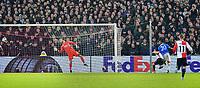 28th November 2019, Rotterdam, Netherlands; Europa League football, Feyenoord versus Glasgow Rangers;  Feyenoord goal keeper Nick Marsman is beaten by a header from Rangers player Alfredo Morelfor 1-1 in the 52nd minute - Editorial Use