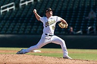 Mesa Solar Sox relief pitcher Jake Bray (15), of the Oakland Athletics organization, delivers a pitch during an Arizona Fall League game against the Salt River Rafters at Sloan Park on October 30, 2018 in Mesa, Arizona. Salt River defeated Mesa 14-4 . (Zachary Lucy/Four Seam Images)