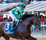 Raging Bull (no. 3) returns after winning the Saranac Stakes (Grade 3), Sep. 1, 2018 at the Saratoga Race Course, Saratoga Springs, NY.  Ridden by Joel Rosario, and trained by Chad Brown, Raging Bull finished 1 1/4 lengths in front of Up the Ante (No. 1).  (Bruce Dudek/Eclipse Sportswire)