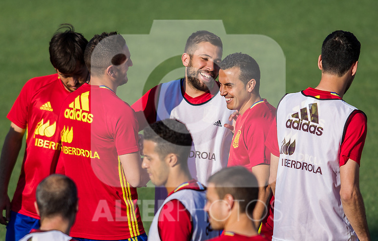 Spain's Coke Resurreccion, Jordi Alba and Pedro Rodriguez during the first training of the concentration of national soccer team before the Uefa Euro 2016.  Jun 4,2016. (ALTERPHOTOS/Rodrigo Jimenez)