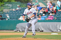Chasen Bradford (20) of the Binghamton Mets pitches during a game against the New Britain Rock Cats at New Britain Stadium on June 1, 2014 in New Britain, Connecticut.  New Britain defeated Binghamton 6-1.  (Gregory Vasil/Four Seam Images)