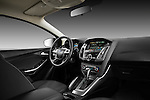 Passenger side dashboard view of 2012 Ford Focus Hatchback Titanium Stock Photo