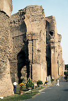 Italy: Rome--Baths of Caracalla. Ruins of main building showing height from which domed ceilings vaulted. Photo '83.
