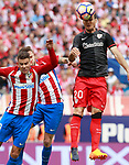 Atletico de Madrid's Lucas Hernandez (l) and Saul Niguez (c) and Athletic de Bilbao's Aritz Aduriz during La Liga match. May 21,2017. (ALTERPHOTOS/Acero)
