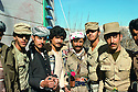 Iran 1979.Iranian soldiers and peshmergas making friendship in Mahabad