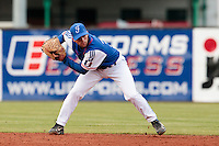 17 August 2010: Sebastien Duchossoy of Team France throws the ball to first base during the Czech Republic 4-3 win over France, at the 2010 European Championship, under 21, in Brno, Czech Republic.