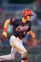 Peoria Chiefs catcher Steve Bean (8) runs to first during a game against the Lansing Lugnuts on June 6, 2015 at Cooley Law School Stadium in Lansing, Michigan.  Lansing defeated Peoria 6-2.  (Mike Janes/Four Seam Images)