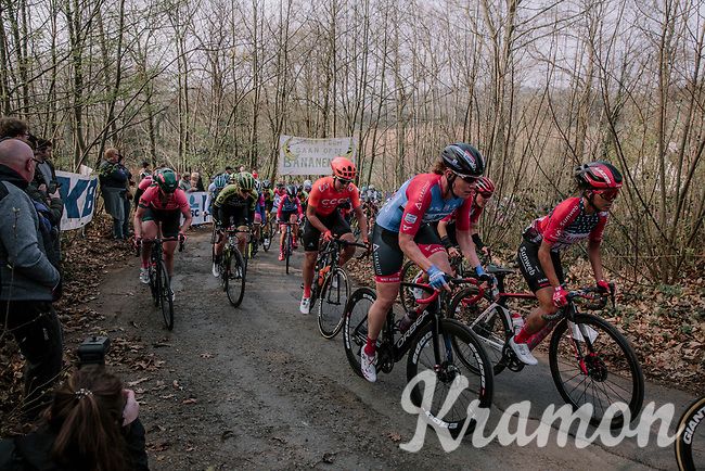 Kirsten Wild (NED/WNT-Rotor) and Coryn Rivera (USA/Sunweb) climbing the Baneberg for the first time.<br /> <br /> 8th Gent-Wevelgem In Flanders Fields 2019 <br /> Elite Womens Race (1.WWT)<br /> <br /> One day race from Ypres (Ieper) to Wevelgem (137km)<br /> ©JojoHarper for Kramon