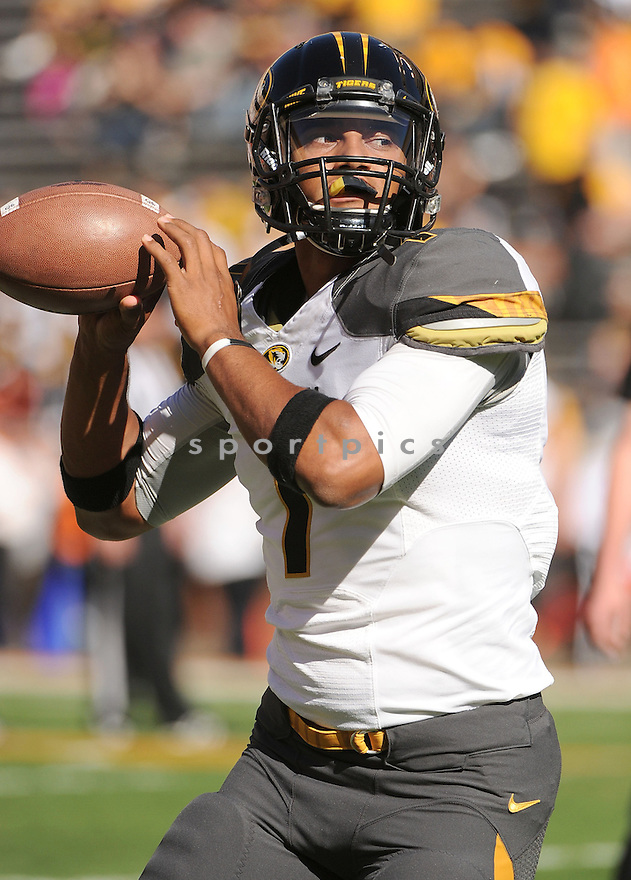Missouri Tigers James Franklin (1) in action during a game against Tennessee on November 10, 2012 at Neyland Stadium in Knoxville, TN. Missouri beat Tennessee 51-48.