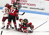 Andie Anastos (BC - 23), Kasidy Anderson (NU - 37), Shelby Herrington (NU - 6), Kenzie Kent (BC - 12) -  The Boston College Eagles defeated the Northeastern University Huskies 2-1 in overtime to win the 2017 Hockey East championship on Sunday, March 5, 2017, at Walter Brown Arena in Boston, Massachusetts.