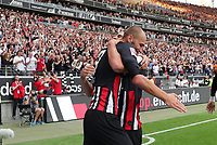 celebrate the goal, Torjubel zum 2:1 Goncalo Paciencia (Eintracht Frankfurt) mit Bas Dost (Eintracht Frankfurt)- 01.09.2019: Eintracht Frankfurt vs. Fortuna Düsseldorf, Commerzbank Arena, 3. Spieltag<br /> DISCLAIMER: DFL regulations prohibit any use of photographs as image sequences and/or quasi-video.