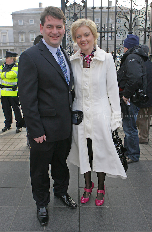 09/03/2011.Fine Gael TD Dara Murphy with wife Tanya Murphy.during the 1st day of the 31st Dail.at Leinster House,  Dublin..Photo: Gareth Chaney Collins