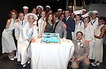 """Bernadette Peters, Joel Grey & Colin Donnell.Bernadette Peters surprises Joel Grey on his 80th birthday with a cake backstage at """"Anything Goes"""" at the Stephen Sondheim Theatre in New York City on April 11, 2012 © Walter McBride / WM Photography  Ltd."""