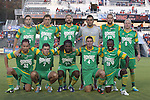 14 September 2013: Tampa Bay's starters. Front row (left to right): Takuya Yamada (JPN), Frankie Sanfillipo, Lucky Mkosana (ZIM), Stuart Campbell, Evans Frimpong (GHA). Back row (left to right): Jordan Gafa, Georgi Hristov (BUL), Jay Needham, Diego Restrepo, Keith Savage, Luke Mulholland (ENG). The Carolina RailHawks played the Tampa Bay Rowdies at WakeMed Stadium in Cary, North Carolina in a North American Soccer League Fall 2013 Season regular season game. The game ended in a 2-2 tie.