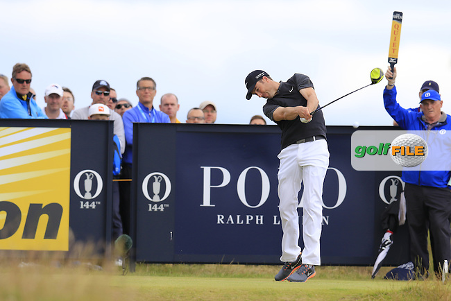 Ross FISHER (ENG) tees off the 15th tee during Sunday's Round  of the 144th Open Championship, St Andrews Old Course, St Andrews, Fife, Scotland. 19/07/2015.<br /> Picture Eoin Clarke, www.golffile.ie