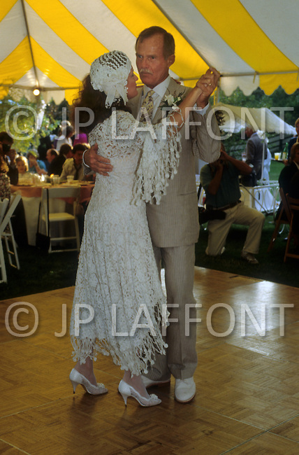 Ketchum, Idaho, U.S.A, August, 5th,1989. Jack Hemingway and his second wife  Angela Holvey dancing after their wedding.