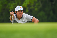 Byeong Hun An (KOR) lines up his birdie attempt on 10 during day 3 of the Valero Texas Open, at the TPC San Antonio Oaks Course, San Antonio, Texas, USA. 4/6/2019.<br /> Picture: Golffile | Ken Murray<br /> <br /> <br /> All photo usage must carry mandatory copyright credit (&copy; Golffile | Ken Murray)