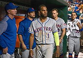 New York Mets shortstop Amed Rosario (1) and his teammates in the dugout in the ninth inning of the game against the Washington Nationals at Nationals Park in Washington, D.C. on Tuesday, July 31, 2018.  The Nationals won the game 25 - 4.<br /> Credit: Ron Sachs / CNP<br /> (RESTRICTION: NO New York or New Jersey Newspapers or newspapers within a 75 mile radius of New York City)