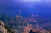 749220247 a violent summer monsoon lightning storm seen from the lodge on the north rim of grand canyon national park arizona