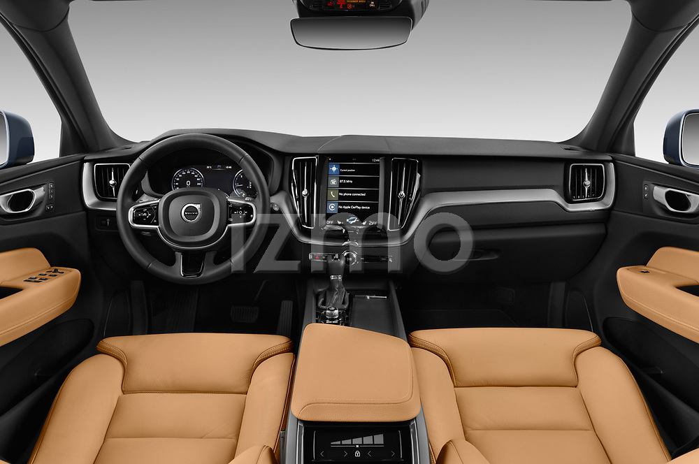 Stock photo of straight dashboard view of a 2018 Volvo XC60 Inscription 5 Door SUV