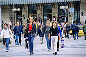 Belgrade, Serbia. Republic Square (Trg Republica); Young women pedestrians walking.