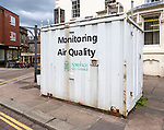Air quality monitoring unit in city centre, Norwich, Norfolk, England, UK