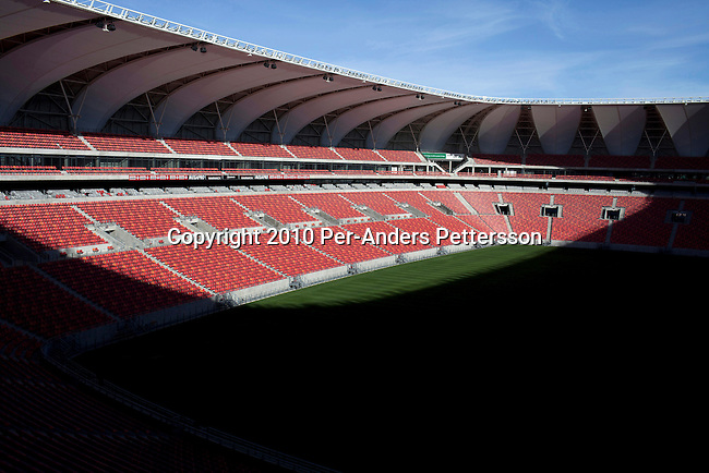 PORT ELIZABETH, SOUTH AFRICA - MAY 5: An inside view of the Nelson Mandela football stadium on May 5, 2010, in Port Elizabeth, South Africa. The stadium has a capacity of 50,000, and it is one of the stadiums and host cities for the FIFA 2010 World Cup. The tournament is held between June 11 and July 11, 2010 in South Africa. (Photo by Per-Anders Pettersson)