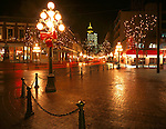 Vancouver, British Columbia<br /> Night view of lights on Water Street and Gastown
