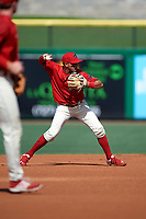 Clearwater Threshers shortstop Emmanuel Marrero (33) throws to first base during the first game of a doubleheader against the Daytona Tortugas on July 25, 2017 at Spectrum Field in Clearwater, Florida.  Daytona defeated Clearwater 4-1.  (Mike Janes/Four Seam Images)