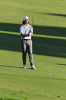 Tommy Fleetwood (ENG) prepares to play his 2nd shot on the 18th hole during Thursday's Round 1 of the 2018 Turkish Airlines Open hosted by Regnum Carya Golf &amp; Spa Resort, Antalya, Turkey. 1st November 2018.<br /> Picture: Eoin Clarke | Golffile<br /> <br /> <br /> All photos usage must carry mandatory copyright credit (&copy; Golffile | Eoin Clarke)