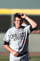 Jared Norris #17 of the Oregon State Beavers before game against the UCLA Bruins at Jackie Robinson Stadium in Los Angeles,California on April 29, 2011. Photo by Larry Goren/Four Seam Images