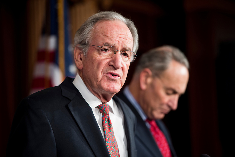 "UNITED STATES - DECEMBER 19: Sen. Tom Harkin, D-Iowa, left, and Sen. Charles Schumer, D-N.Y., hold a news conference in the Capitol to respond to Speaker Boehner's ""plan B"" for the fiscal cliff on Wednesday, Dec. 19, 2012. (Photo By Bill Clark/CQ Roll Call)"